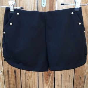 Pearl - Black shorts with gold studs Small